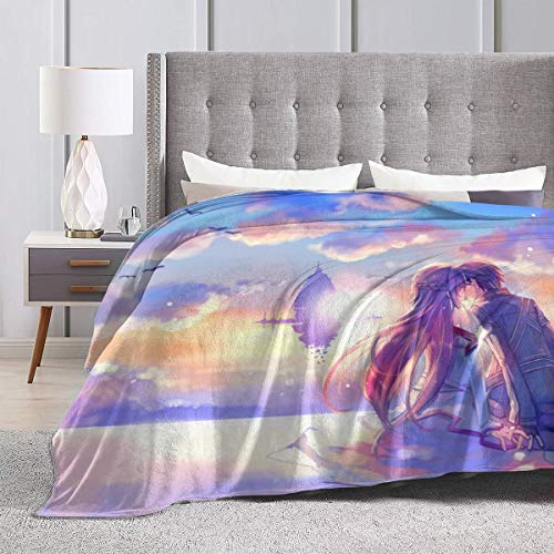 """Sword Art Online Kirito Kiss Yuuki Asuna Ultra Soft Sherpa Flannel Fleece Throw Blankets for Bed/Couch/Sofa/Living/Room/Bedroom, Warm Blanket Coral Plush Throw for Kids Adults Women Men 60"""""""" x50"""