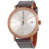 IWC Portofino 18kt Rose Gold Automatic Diamond Silver Dial Ladies Watch IW458107