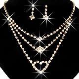 Momangel - Juego de collar de diamantes de imitación multicapa + pendientes colgantes para bodas, fiestas, banquetes, cócteles, Aleación, diamantes de imitación., Dorado, talla única