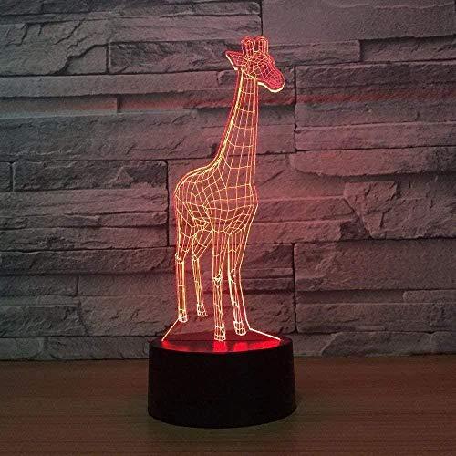 3D lámpara jirafa 16 colores RGB LED lámparas de noche para niños táctil LED USB mesa lampara bebé dormir noche novedad lámpara de acrílico