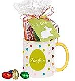Bunte Tasse mit Ihrem Namen - mit Schokolade, Kaffeebecher, Geschenkidee, Ostergeschenk, Geschenk zu Ostern, zur Osterzeit, für Mann / Frau, für Kinder, für den Bruder / die Schwester (gelbe Tasse)