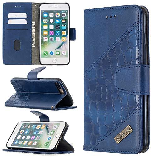 Miagon iPhone 7 Plus/8 Plus Stoßfest Brieftasche Hülle Cover,Krokodil Spleißen PU Lederhülle Ständer Kartenfächer Magnetverschluss Silikon Handytasche,Blau