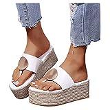 Sandalias de tacón de cuña para Mujer Casual playa,Sandalias de Estilo romanas, Retro diseño,Fondo grueso, Zapatos de Casual, Zapatos de Talla Grande para Mujer Negro Blanco Dorado 37-42