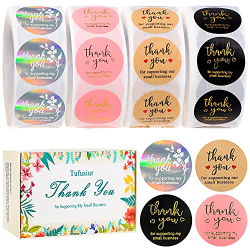 """Thank You Stickers 4 Rolls 2000 Pieces Small Business Supplies, Tufusiur 1"""" Thank You Labels for Lip Gloss Packaging Boxes, Greeting Cards, Gift Wraps, Bubble Mailers"""