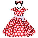 Costume da Principessa Minnie Polka Dots per Bimba con Vestito Lungo Compleanno Ballerina Abiti Bambina Carnevale Halloween Abito Festa Cerimonia Comunione Nozze Sera Pageant Rosso 18 Mesi
