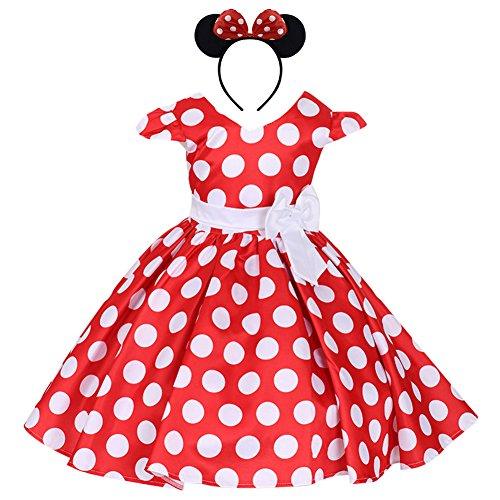 Costume da Principessa Minnie Polka Dots per Bimba con Vestito Lungo Compleanno Ballerina Abiti Bambina Carnevale Halloween Abito Festa Cerimonia Comunione Nozze Sera Pageant Rosso 2-3 Anni