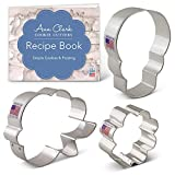 Ann Clark Cookie Cutters 3-Piece Day of the Dead/Día de Muertos Cookie Cutter Set with Recipe Booklet, Skull, Rose