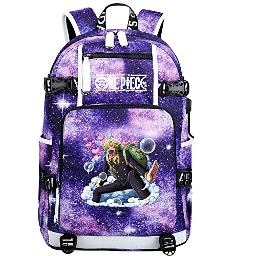 ZZGOO-LL One Piece Monkey·D·Luffy/Vinsmoke Sanji Anime Laptop Backpack Bag Travel Laptop Daypacks Bolso Ligero con USB-H