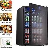 [page_title]-Getränkekühlschrank und -kühler - Minikühlschrank mit Glastür, kleiner Getränkeautomat für Sodabier oder Wein, 120-Dosen-Kapazität für Zuhause oder Bar, mit verstellbarem abnehmbarem Regal