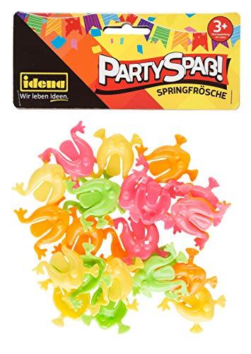Idena 40436 Partyspaß Springfrösche, 24 Stück, in den knalligen Farben gelb, orange, pink und grün, Größe ca. 3 x 3 cm