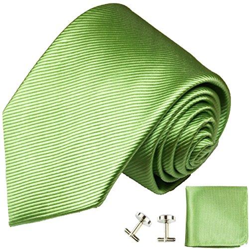 Cravate vert uni ensemble de cravate 3 Pièces (100% Soie Cravate + Mouchoir + Boutons de manchette)
