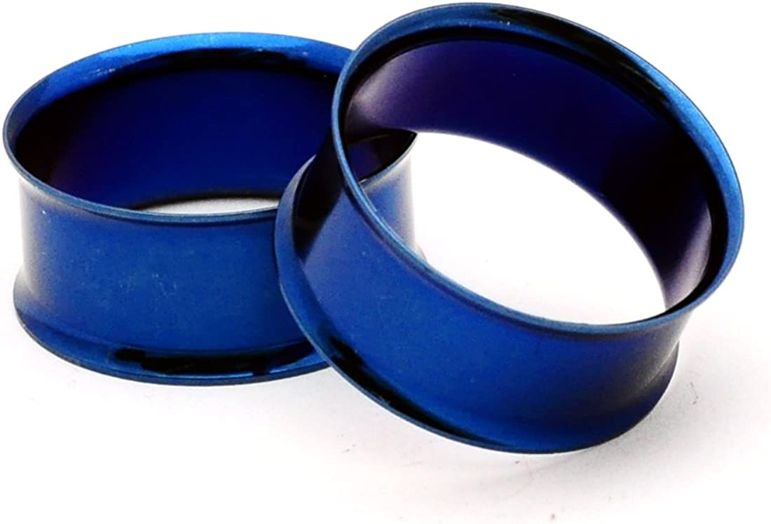 Mystic Metals Body Jewelry Blue Steel Double Flare Tunnels - 7/16