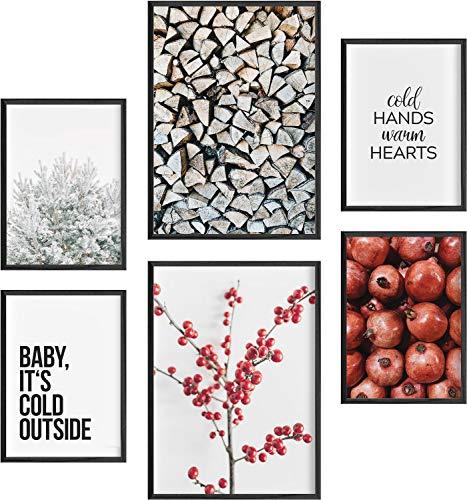 Mia Félice Deko Bilder für das Wohnzimmer modern und angesagt, Premium Poster Set » Winter « Tumblr Deko Wand Bild, Dekoration Wohnung modern, Deko Schlafzimmer, Zimmer Deko OHNE BILDERRAHMEN