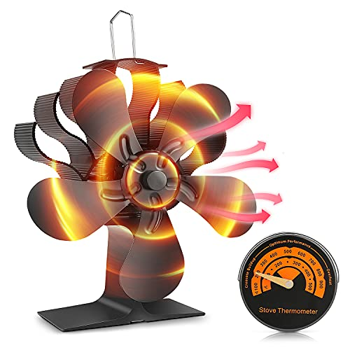 Wood Stove Fan, Fireplace Fan 5 Blades Wood Burning Stove Fan for Home Heating, Blower Fan Accessories Fireplace Tools for Wood/Gas/Log...