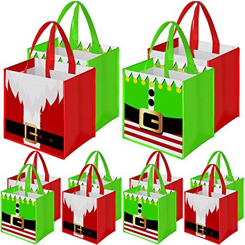 Aneco 12 Pack Christmas Non-Woven Bags 9.8 x 7.8 x 9.8 Inches Santa Claus Elves Suit Prints Xmas Gift Bags Holiday Present Party Bag Non Woven Treat Storage Sack for Christmas Party Celebrations