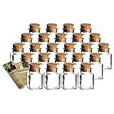 gouveo 24er Set Gewürzgläser Quadrat 150 ml mit Presskorken incl. Flaschendiscount-Rezeptbroschüre, Ideal für Gastgeschenke, Korkengläser, Glasdose, Aufbewahrungsglas, Korkenglas eckig