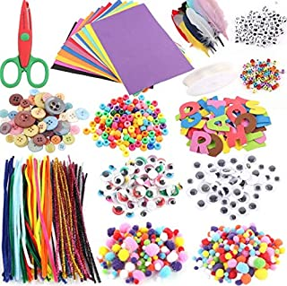 Arts and Crafts Supplies Set Kids DIY Supplies Include Pipe Cleaners, Pom Poms, Craft Sticks, Buttons, Sequins for Craft D...
