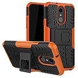 LFDZ LG Q7 Tasche, Hülle Abdeckung Cover schutzhülle Tough Strong Rugged Shock Proof Heavy Duty Hülle Für LG Q7 Smartphone (mit 4in1 Geschenk verpackt),Orange