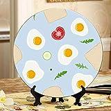 Huevos fritos Tostada Pan Tomate Platos de cerámica de colores Platos decorativos de color Plato oscilante para el hogar con soporte de exhibición Decoración Platos coloridos para el hogar Decoració