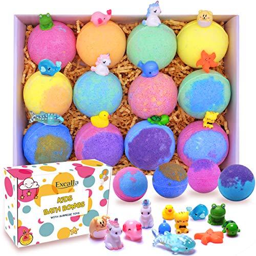 Bath Bombs for Kids with Toys Inside Surprise - Bubble Bath Fizzies Vegan Essential Oil Spa Bath Fizz Balls Kit for Girls/Boys/Women Dry Skin Moisturize, Handmade 12 Gift Set, Kid Safe
