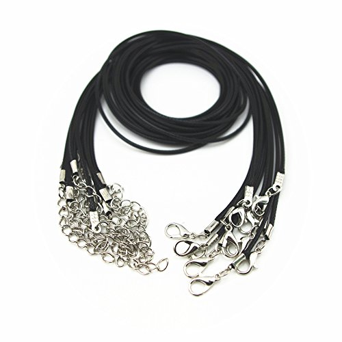 """Glory Qin 10pcs Black Leather Necklace Cord Chain 1.5mm 2"""" Extension Chain (22 Inches)"""