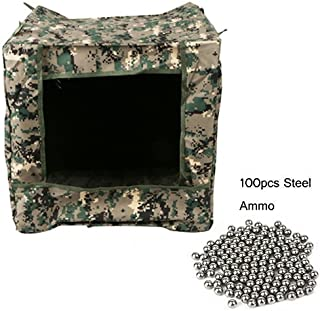 TOPARCHERY Folding Slingshot Camouflage Target Box, 40x40x40cm Recycle Ammo Case +100pcs 8mm Slingshot Ammo Hunting Shooting Practice
