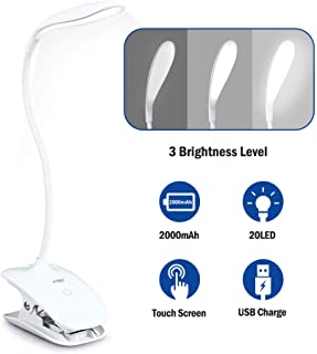 Led Clip Light,Touch Switch Bedside Book Light,360° Flexible Lamp Clip,20 LEDs 2000mAh Reading Light with 3 Brightness Level for Desk,Book,Bed,Computer - White