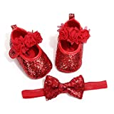 OAISNIT Baby Girl Mary Jane Flats Sparkly Soft Infant Princess Dress Crib Shoes with Headband