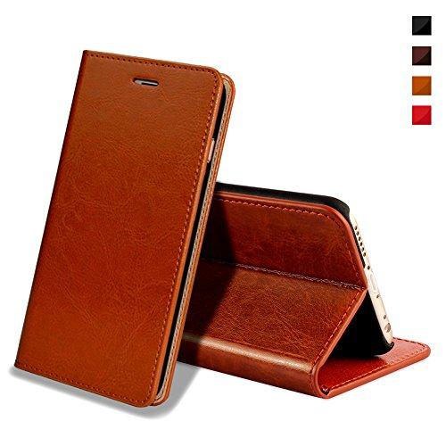 EATCYE iPhone 6S Plus Handyhülle,iPhone 6 Plus Hülle, [Echt Leder] Handyhülle flip Lederhülle [Magnet] Hülle für iPhone 6S Plus/iPhone 6 Plus (Braun)