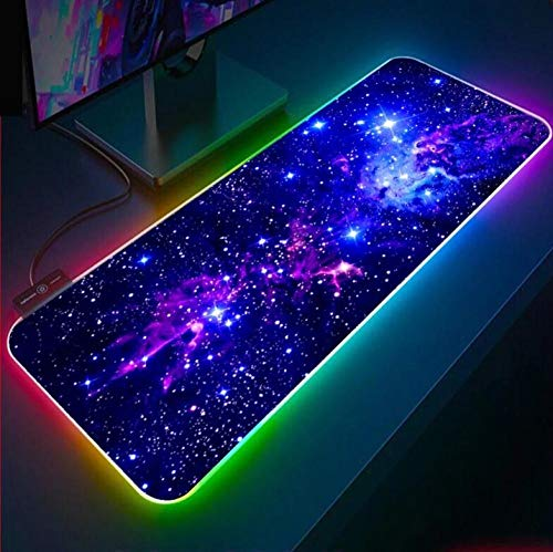 Mouse Pads Blue Star RGB Mouse Pad XXL Computer Keyboard Gaming LED Gamer Pc Gaming Desk Pad (Size_2) 700X300X4Mm