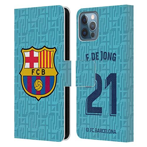 Head Case Designs Oficial FC Barcelona F. De Jong 2019/20 Jugadores Tercer Kit Grupo 1 Carcasa de Cuero Tipo Libro Compatible con Apple iPhone 12 / iPhone 12 Pro