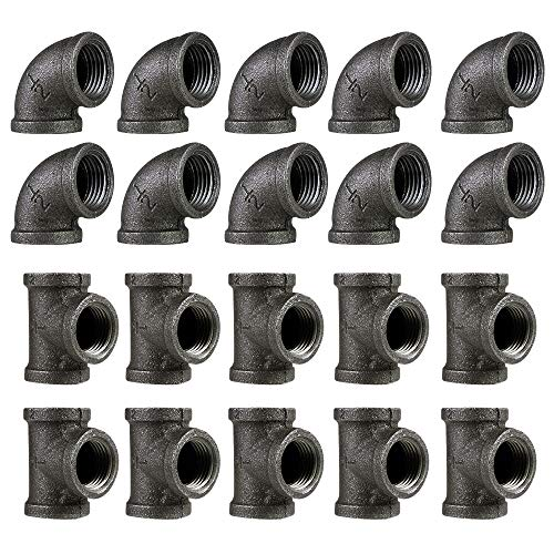 """1/2"""" Malleable Cast Iron Elbow Tee Combo Pack(10 Pipe Elbows, 10 Pipe Tees)20 Pack,Threaded Pipe, 90 Degree Pipe Elbow Tee Black Pipe Fittings for Steampunk Furniture Projects."""