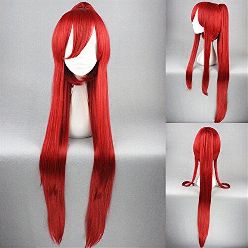Gurren Lagann-Yoko Perruque de Cosplay Cheveux longs et lisses avec Tresse Costume Carnaval Halloween Anime Manga Rouge