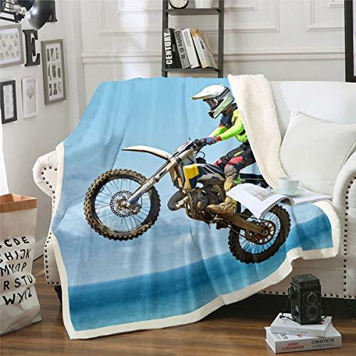 Loussiesd Manta de felpa para niños Dirt Bike, para deportes extremos, para niños, adolescentes y jóvenes, de forro polar, para motocicleta, bicicleta, manta para sofá cama, doble de 152 x 192 cm