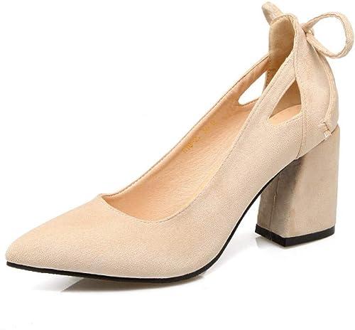 VIVIOO Plus la Taille Taille Taille 34-46 Basique Mode Pompes Femmes Chaussures Talons épais 7.5cm Bout Pointu Troupeau de Chaussures à Talons Hauts Femme b98