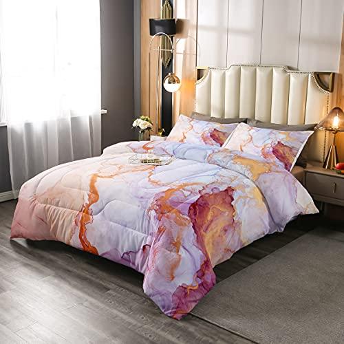 KingChic - Edredón de plumón de mármol, para niñas y niñas, color rosa, blanco y blanco, juego de edredón para adultos y mujeres, juego de cama con 1 funda de almohada