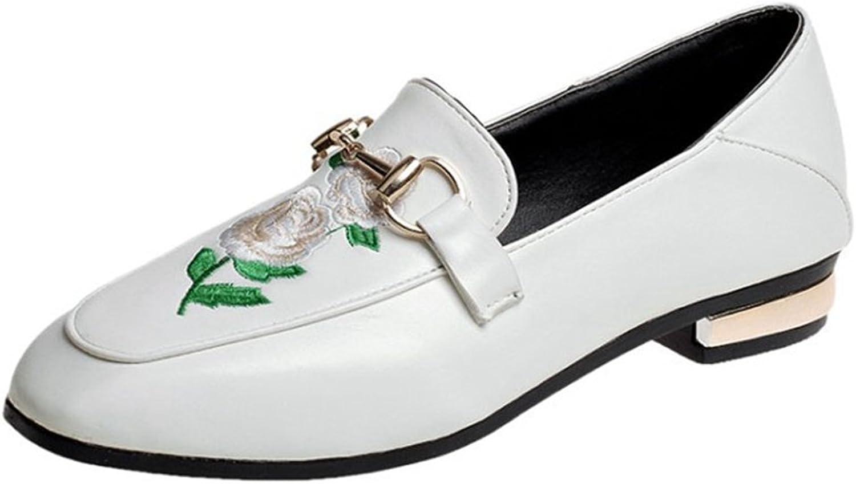 Hoxekle kvinnor Flower Casual Low Low Low Top Square Toe Low klackar Rubber Sole Mikrofiber Slip on Loafer skor  försäljning online