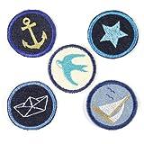 Bügelbilder Paket Aufbügler maritim 5 Flicken ø 5cm Anker   Stern   Segelschiff   Schwalbe   Boot Flicken zum aufbügeln für Erwachsene
