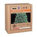 ANSIO Árbol de Navidad Luces 2000 LED 50m Multi color Luces interiores/exteriores Decoraciones Luces de cuerda de hadas Alimentación principal 162 pies Longitud encendida Cable verde