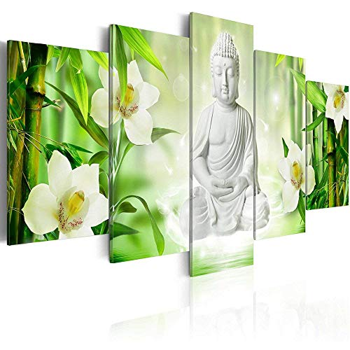 AWLXPHY Decor Buddh Wall Art Canvas Vertical for Living Room Decoration 5 Panels Framed Painting Modern Still Life Buddha Orchid Bamboo Green Flower Zen Wall Artwork Giclee Large (60' Wx 30' H)