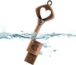 Aneew 16GB Pendrive Metal Copper Heart Key Model USB Flash Drive Memory Stick U Disk