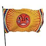 Sun Image Painting Art Huichol Stamm Mexiko Holiday Yard Flaggen außerhalb dekorative Flaggen 3x5 Fuß lebendige Farben Qualität Polyester und Messing Ösen