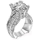 Jushye Engagement Wedding Band Ring,Fashion Silver Ring Bridal Zircon Diamond Elegant Bridal Jewellery (Silver, A)