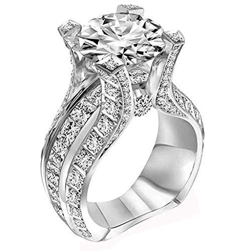 Silver Zircon Bridal Wedding Band Engagement Promise Women Girls Ring Set