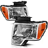 AUTOSAVER88 Headlight Assembly Fit for 2009-2014 Ford F150 Pickup,OE Direct Replacement Headlamp,Chrome Housing Clear Lens with Chrome Trim