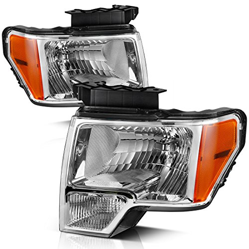 AUTOSAVER88 Headlight Assembly Compatible with 2009-2014 Ford F150 Pickup,OE Direct Replacement Headlamp,Chrome Housing Clear Lens with Chrome Trim