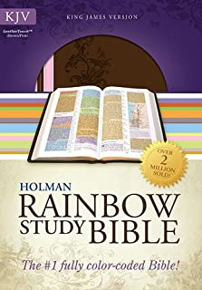 KJV Rainbow Study Bible, Pink/Brown LeatherTouch