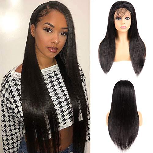 Perruque Bresilienne Lisse Perruque Lace Closure Wig Longue Cheveux Humain Densité 130% 5x5 Lace Front Wig Quality Lace avec Baby Hair Longue 26 pouces