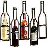 Botellero de Metal montado en la Pared |Soporte Creativo para Botellas de Vino | Estante de Pared Organizador de Almacenamiento Rack-negro-65x10x52cm