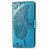 Alsoar Compatibile per Cover Huawei P30 Pro,Ultra Slim Custodia Portafoglio in Vera Pelle con 3 Slot Funzione Stand Silicone Antiurto Flip Farfalla Goffratura Cover per Huawei P30 Pro (blu)